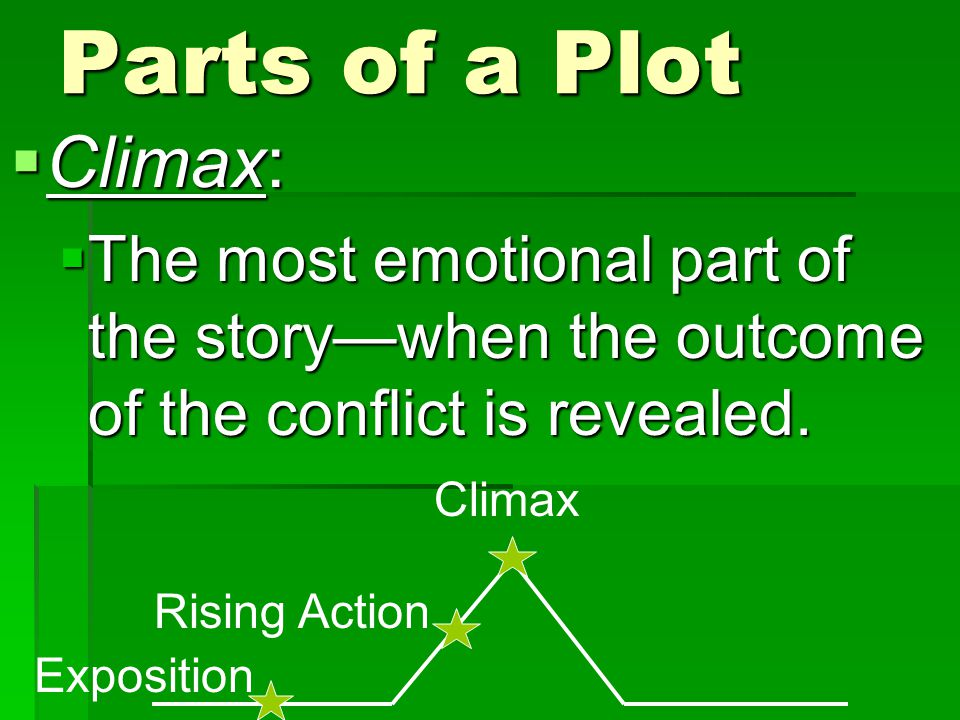 Parts of a Plot  Climax:  The most emotional part of the story—when the outcome of the conflict is revealed. Exposition Rising Action Climax