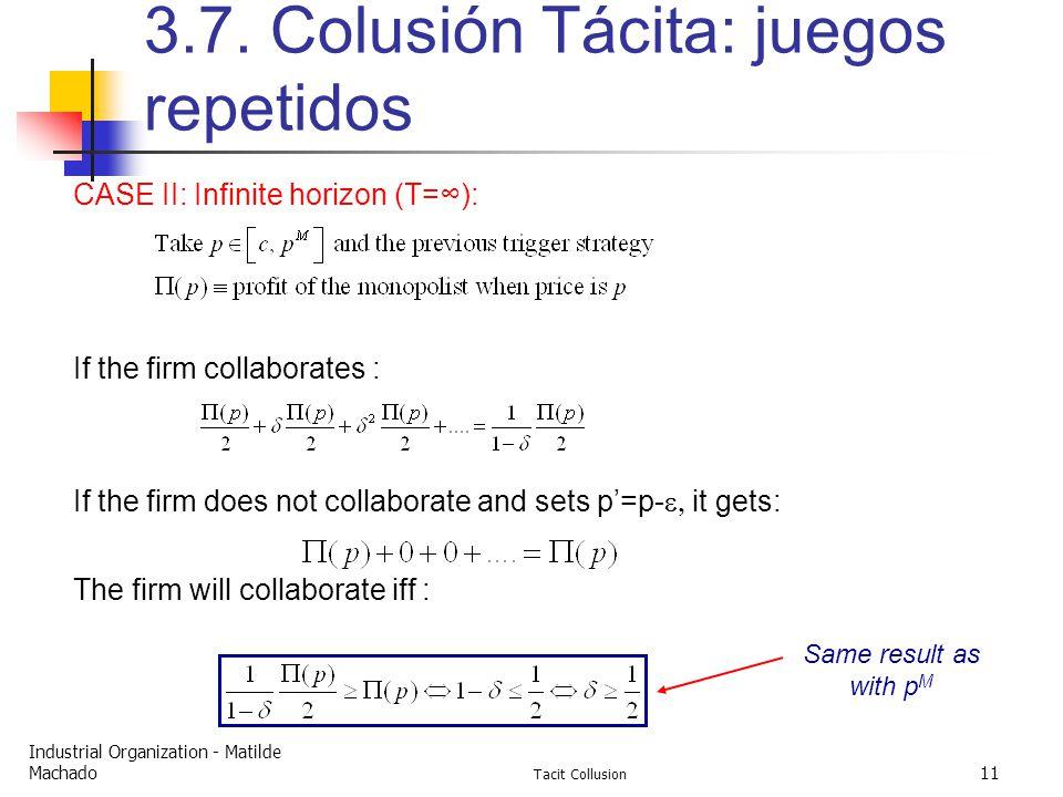 Industrial Organization - Matilde Machado Tacit Collusion 11 3.7.