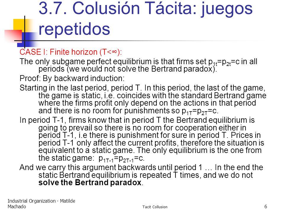 Industrial Organization - Matilde Machado Tacit Collusion 6 3.7.