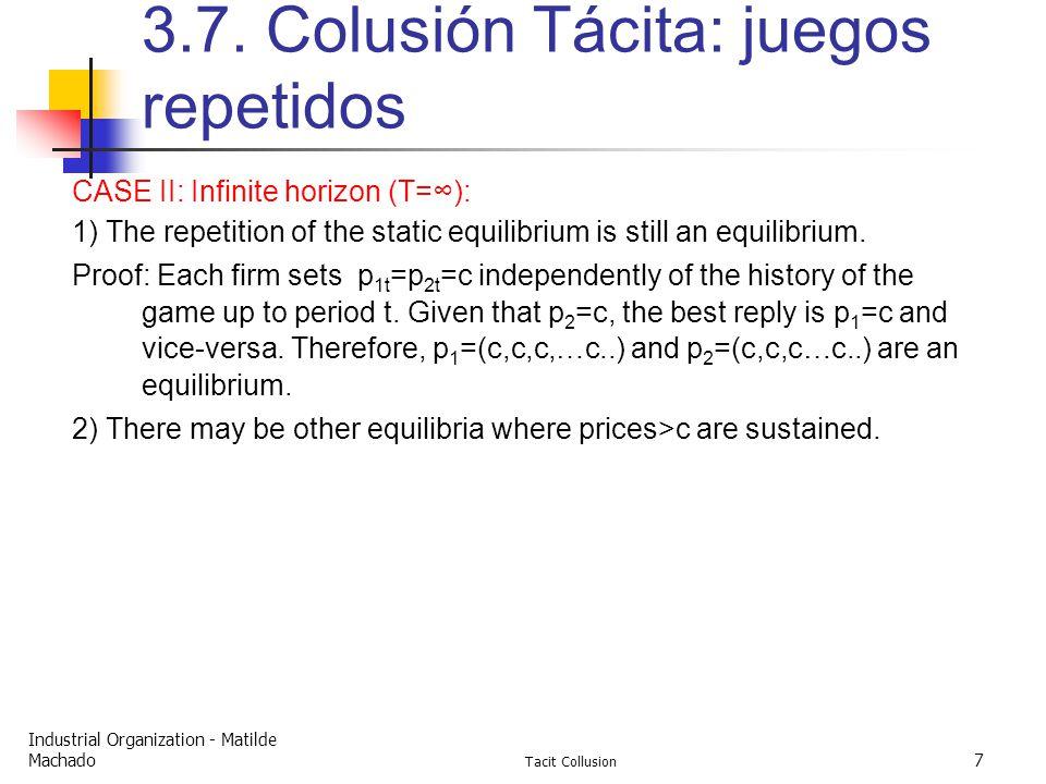 Industrial Organization - Matilde Machado Tacit Collusion 7 3.7.