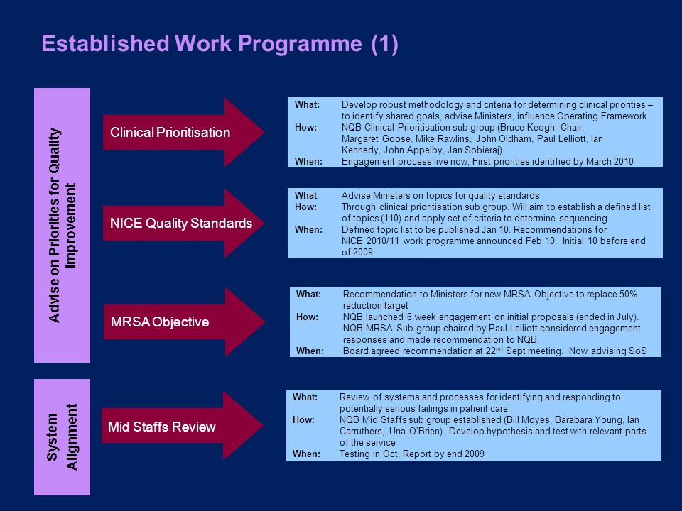 Established Work Programme (1) Mid Staffs Review What:Review of systems and processes for identifying and responding to potentially serious failings in patient care How: NQB Mid Staffs sub group established (Bill Moyes, Barabara Young, Ian Carruthers, Una O'Brien).