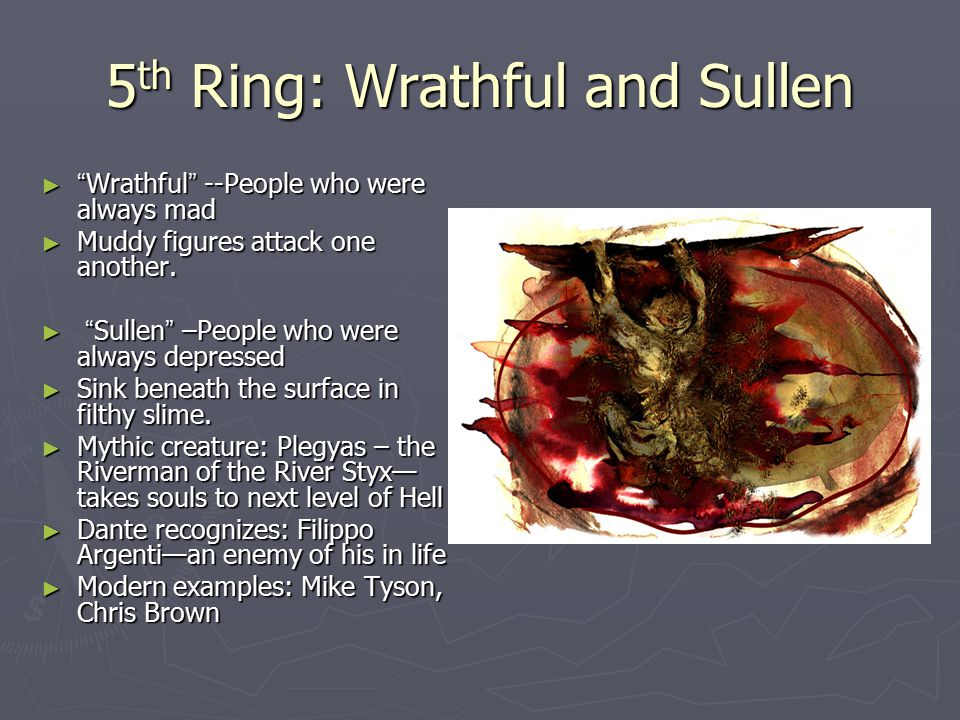 5 th Ring: Wrathful and Sullen ► Wrathful --People who were always mad ► Muddy figures attack one another.
