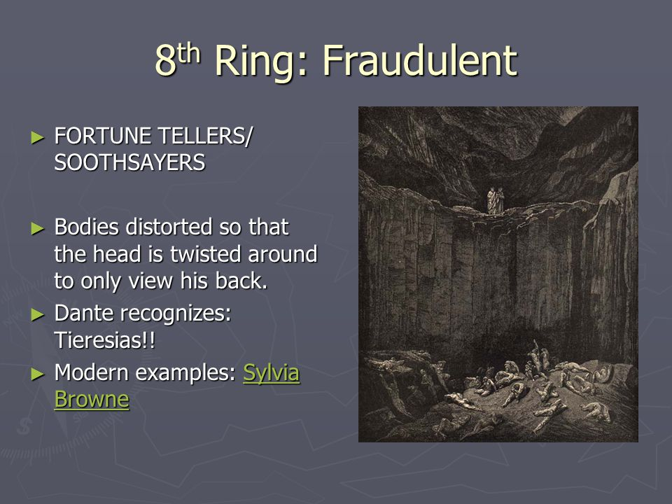 8 th Ring: Fraudulent ► FORTUNE TELLERS/ SOOTHSAYERS ► Bodies distorted so that the head is twisted around to only view his back.