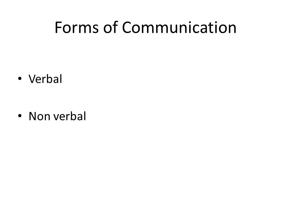 Forms of Communication Verbal Non verbal