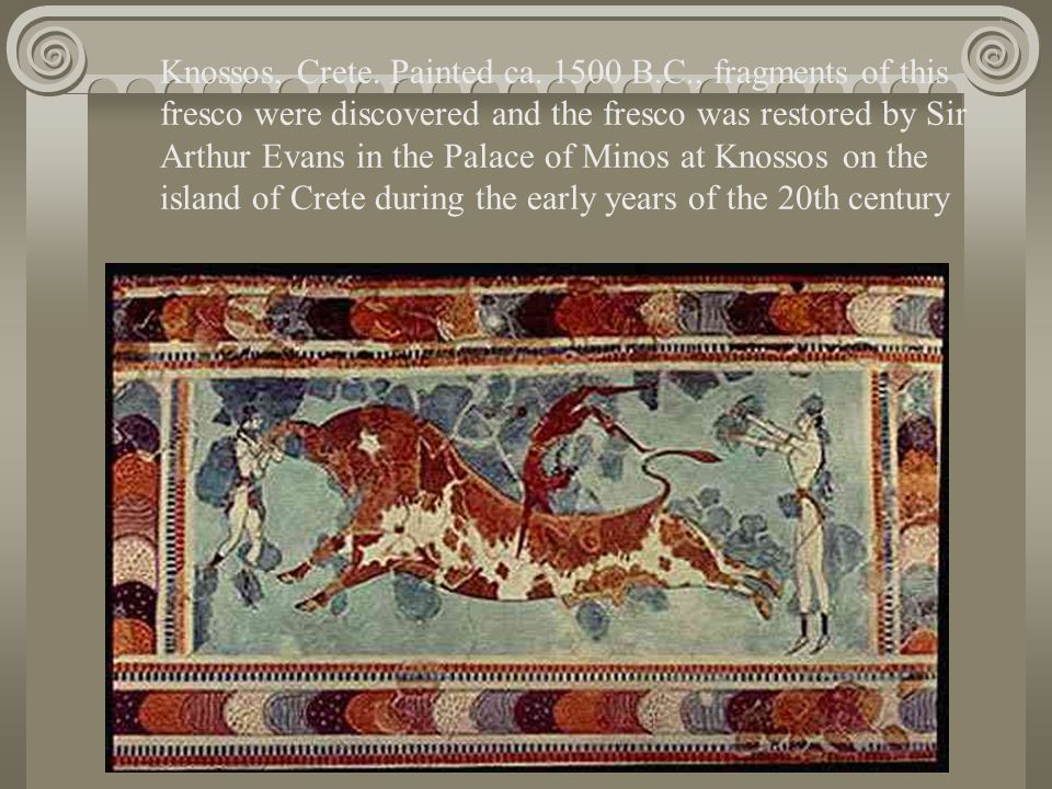 Knossos, Crete. Painted ca. 1500 B.C., fragments of this fresco were discovered and the fresco was restored by Sir Arthur Evans in the Palace of Minos