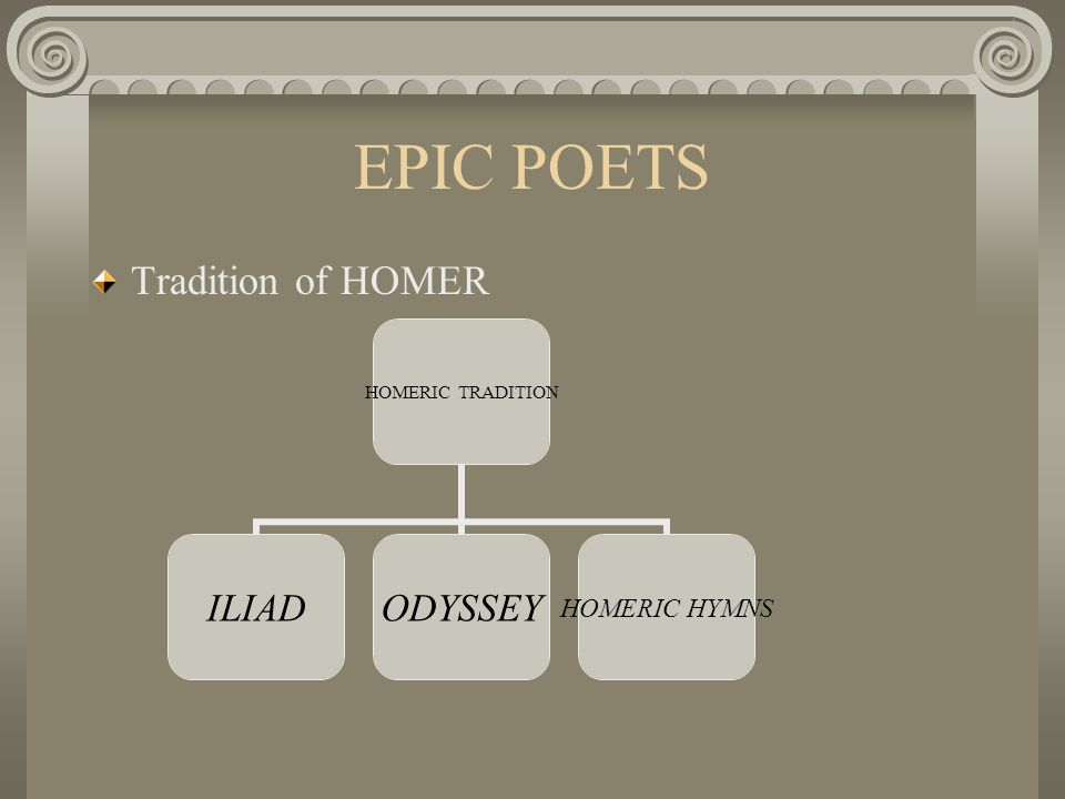 EPIC POETS Tradition of HOMER HOMERIC TRADITION ILIADODYSSEY HOMERIC HYMNS