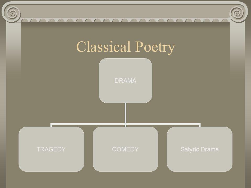 Classical Poetry DRAMA TRAGEDYCOMEDY Satyric Drama