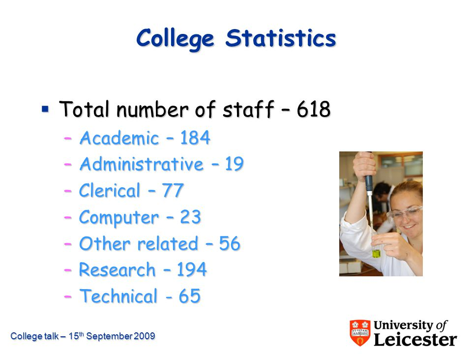 College talk – 15 th September 2009 College Statistics  Total number of staff – 618 –Academic – 184 –Administrative – 19 –Clerical – 77 –Computer – 2
