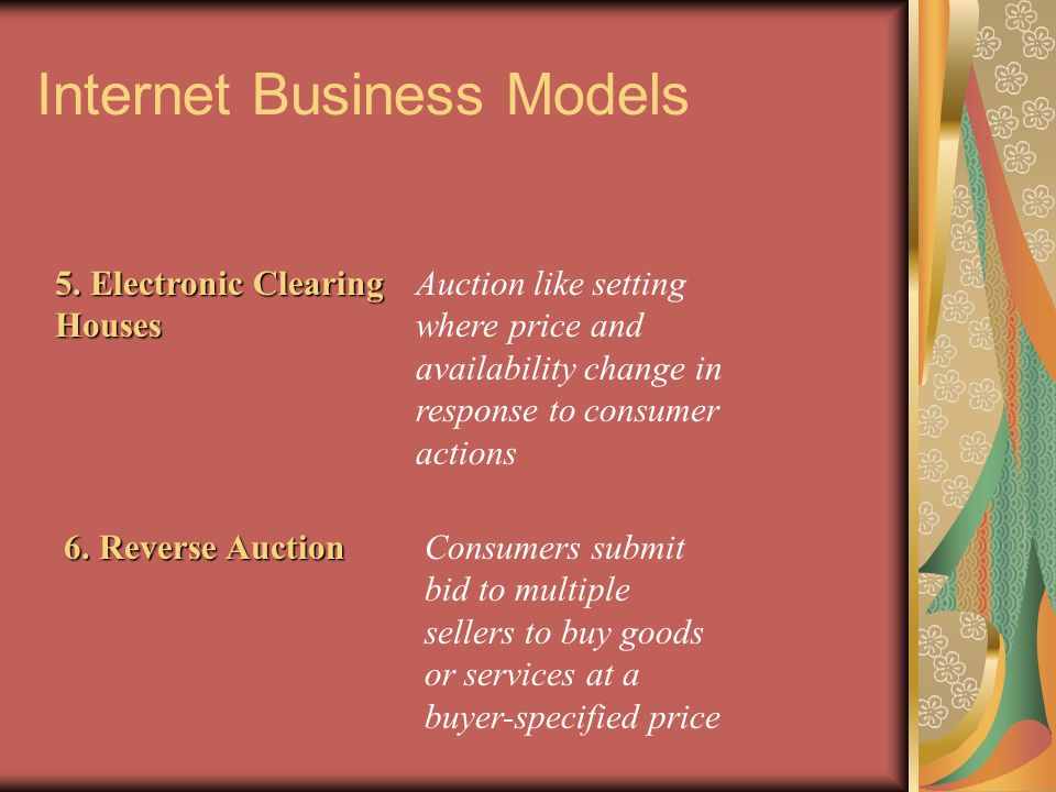 Internet Business Models 5. Electronic Clearing Houses Auction like setting where price and availability change in response to consumer actions 6. Rev