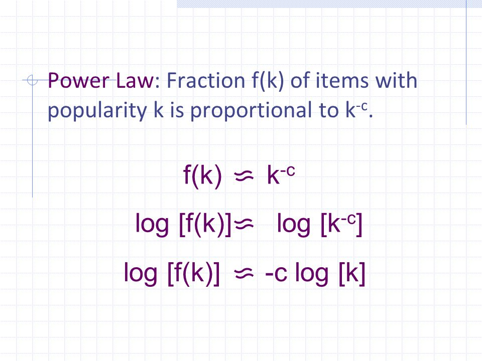 Power Law: Fraction f(k) of items with popularity k is proportional to k -c.