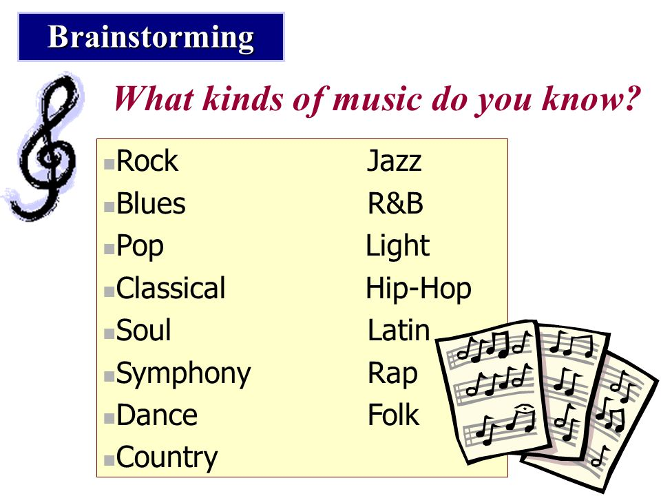 What kinds of music do you know? RockJazz BluesR&B Pop Light Classical Hip-Hop SoulLatin Symphony Rap Dance Folk Country Brainstorming