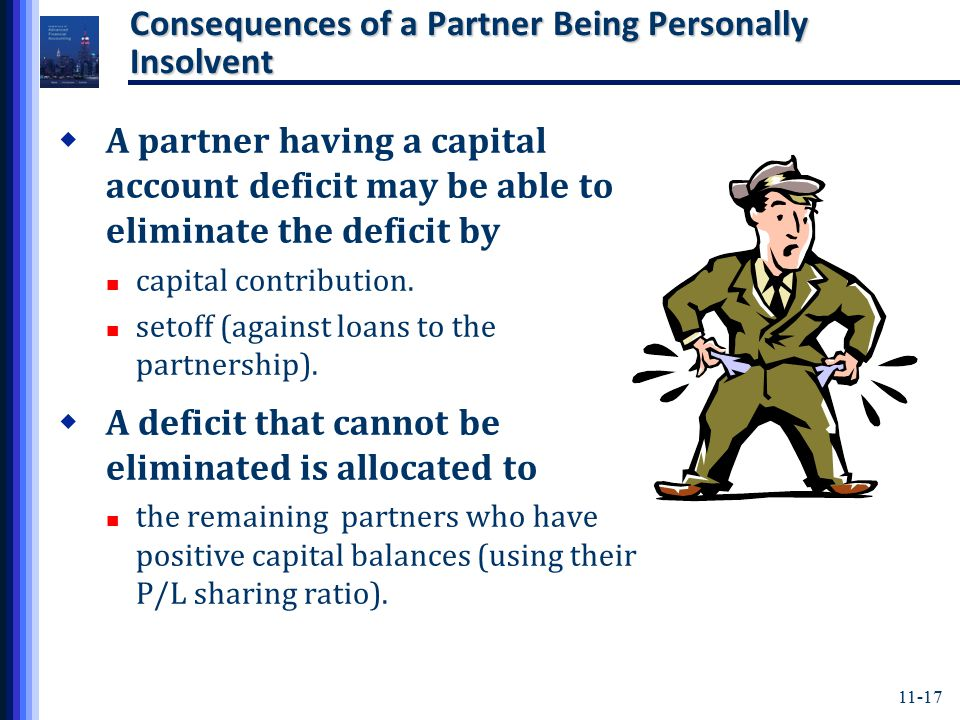 11-17 Consequences of a Partner Being Personally Insolvent  A partner having a capital account deficit may be able to eliminate the deficit by capital contribution.
