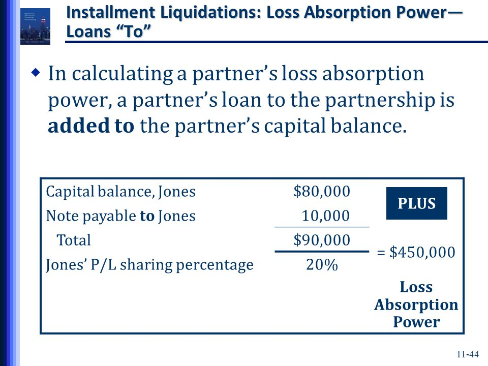 11-44 Installment Liquidations: Loss Absorption Power— Loans To  In calculating a partner's loss absorption power, a partner's loan to the partnership is added to the partner's capital balance.