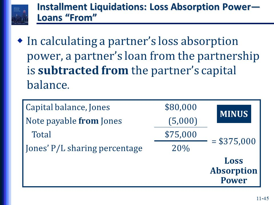 11-45 Installment Liquidations: Loss Absorption Power— Loans From  In calculating a partner's loss absorption power, a partner's loan from the partnership is subtracted from the partner's capital balance.