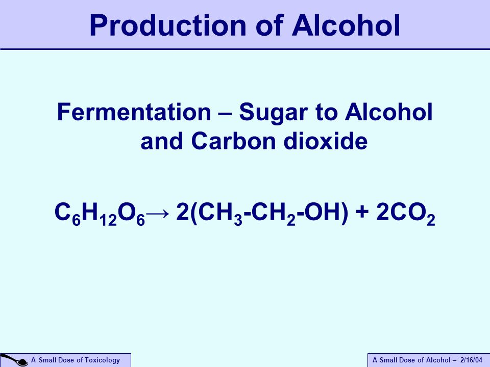 A Small Dose of ToxicologyA Small Dose of Alcohol – 2/16/04 Production of Alcohol Fermentation – Sugar to Alcohol and Carbon dioxide C 6 H 12 O 6 → 2(CH 3 -CH 2 -OH) + 2CO 2