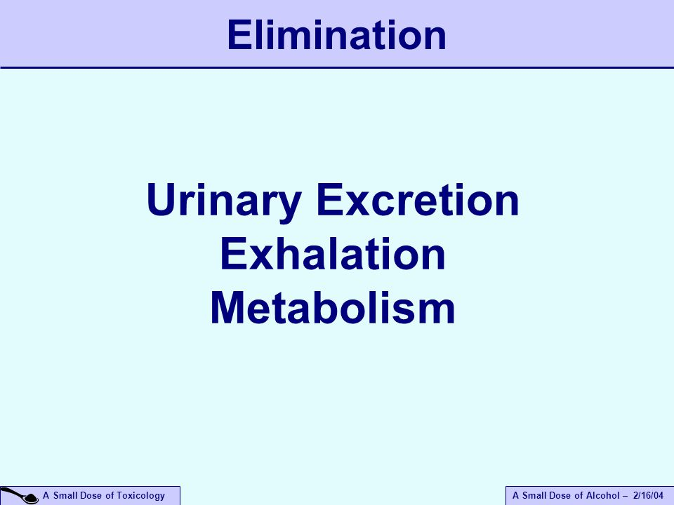 A Small Dose of ToxicologyA Small Dose of Alcohol – 2/16/04 Urinary Excretion Exhalation Metabolism Elimination
