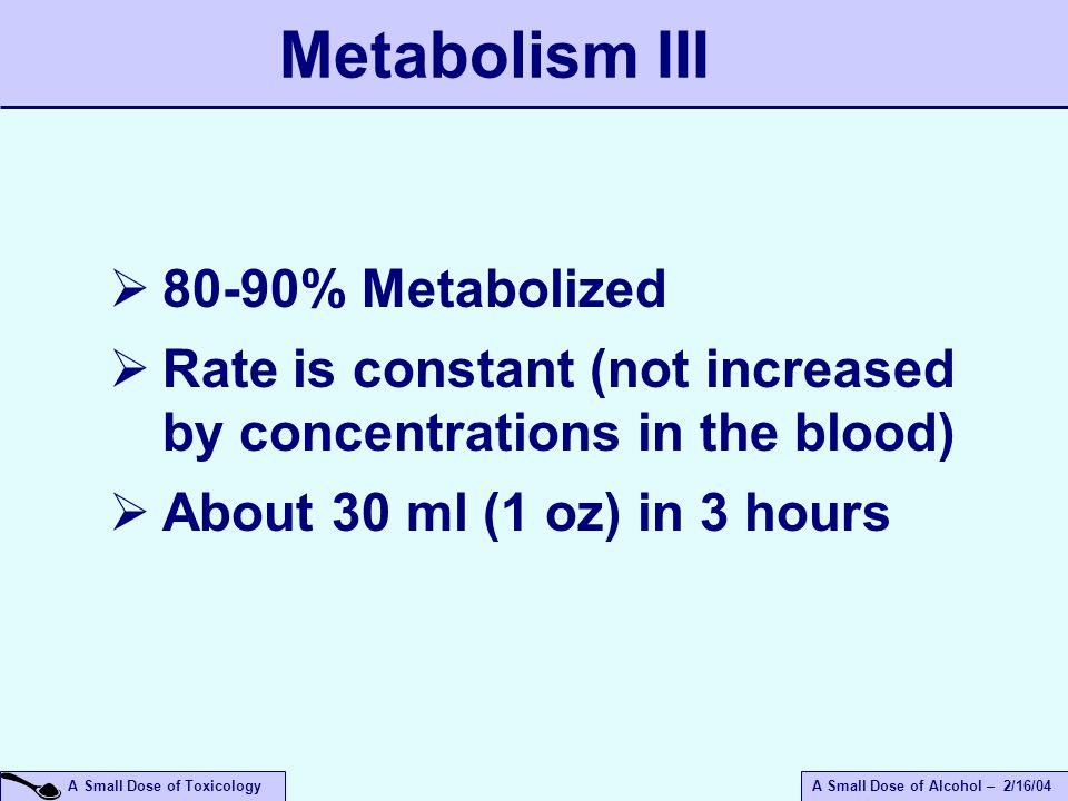 A Small Dose of ToxicologyA Small Dose of Alcohol – 2/16/04 Metabolism III  80-90% Metabolized  Rate is constant (not increased by concentrations in the blood)  About 30 ml (1 oz) in 3 hours