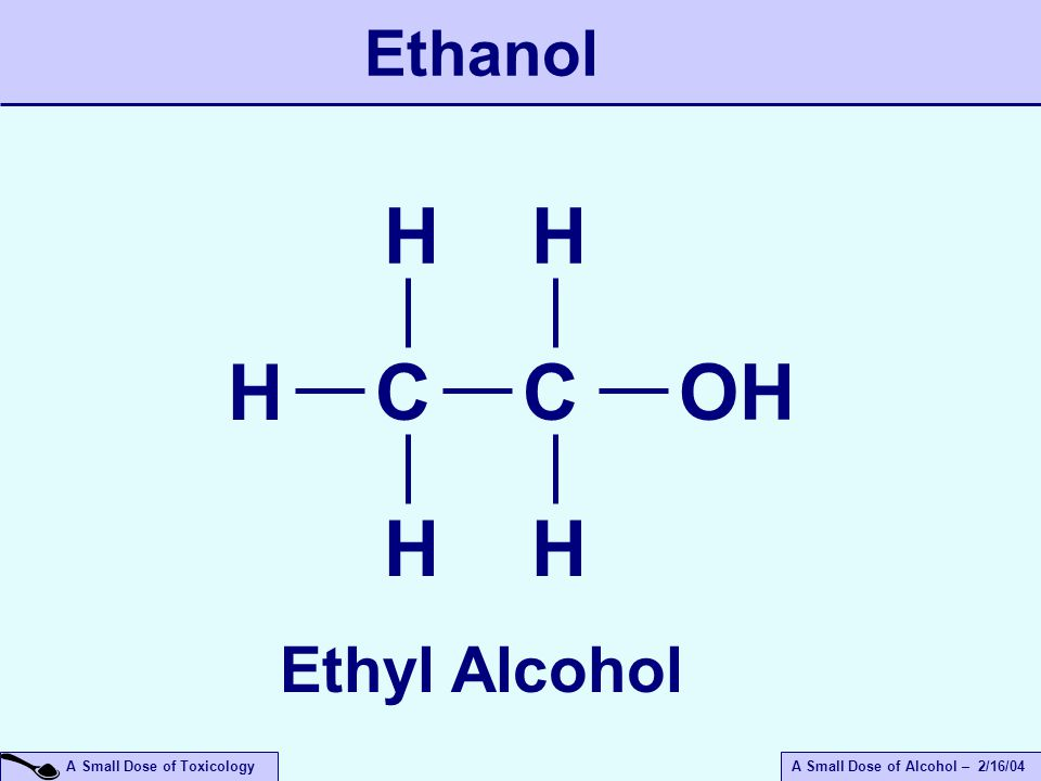 A Small Dose of ToxicologyA Small Dose of Alcohol – 2/16/04 Ethanol C H H H OH Ethyl Alcohol C H H
