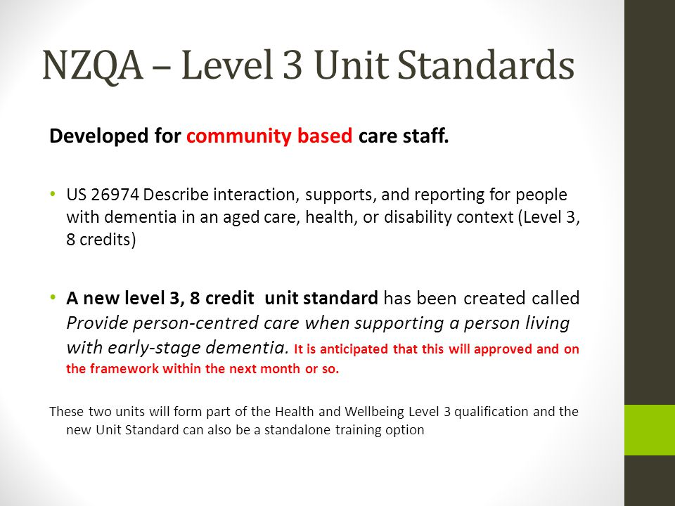 NZQA – Level 3 Unit Standards Developed for community based care staff.
