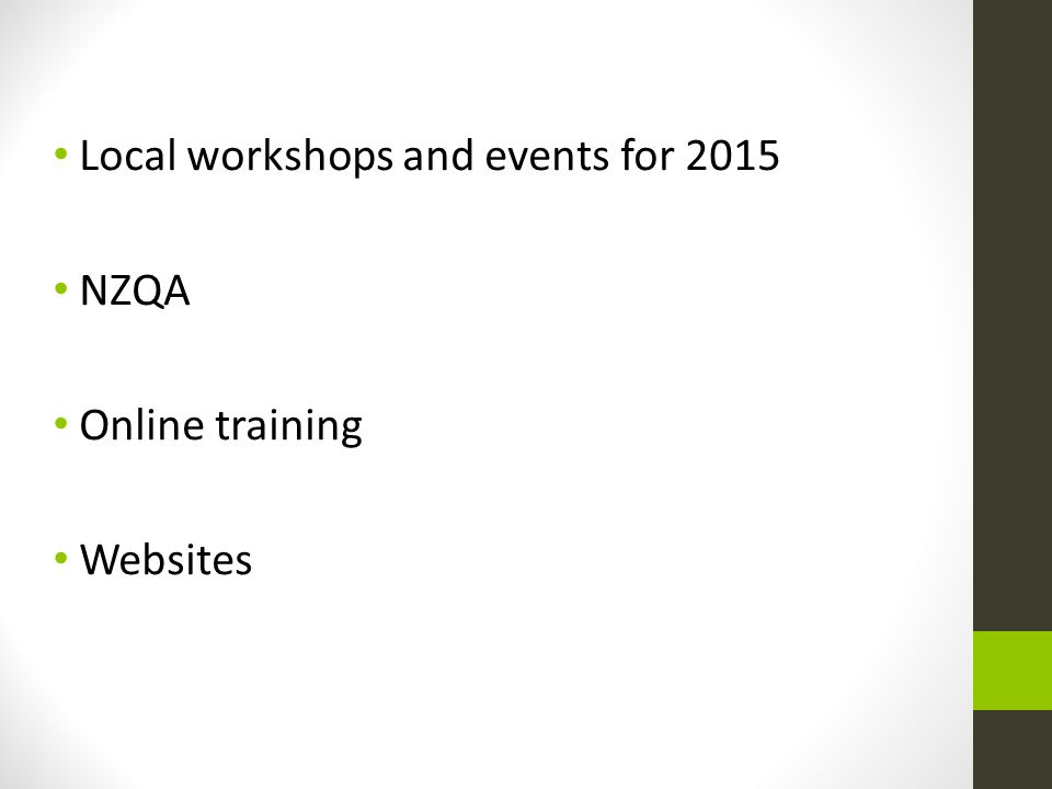 Local workshops and events for 2015 NZQA Online training Websites