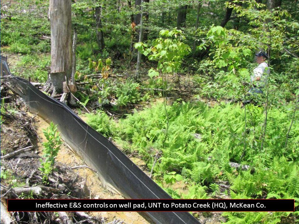Ineffective E&S controls on well pad, UNT to Potato Creek (HQ), McKean Co.