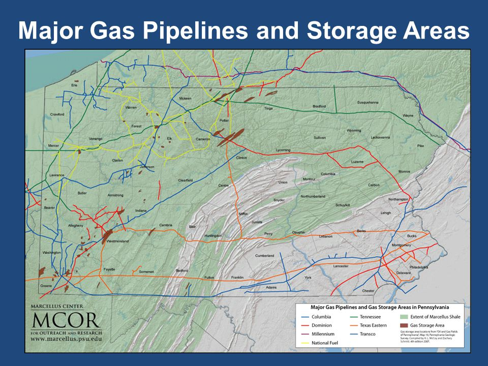 Major Gas Pipelines and Storage Areas