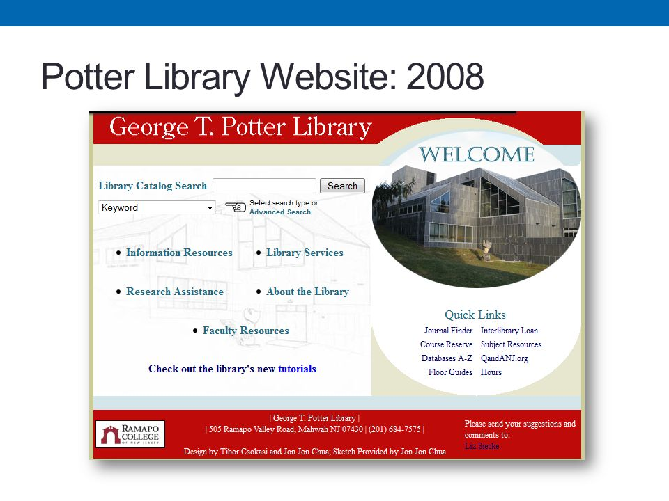 Potter Library Website: 2008
