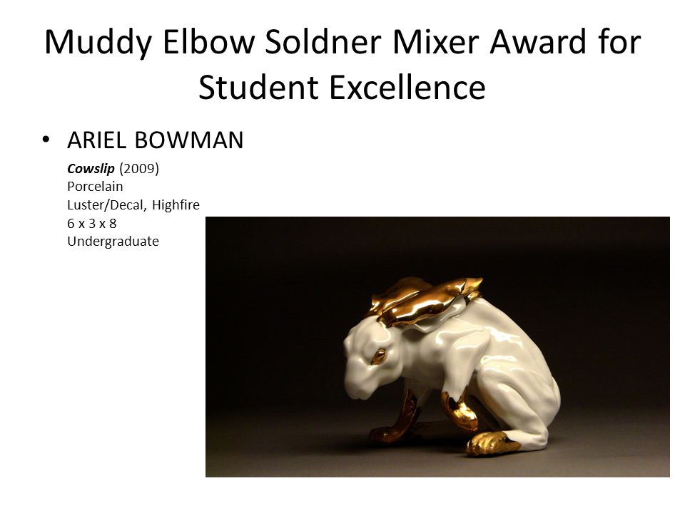 Muddy Elbow Soldner Mixer Award for Student Excellence ARIEL BOWMAN Cowslip (2009) Porcelain Luster/Decal, Highfire 6 x 3 x 8 Undergraduate