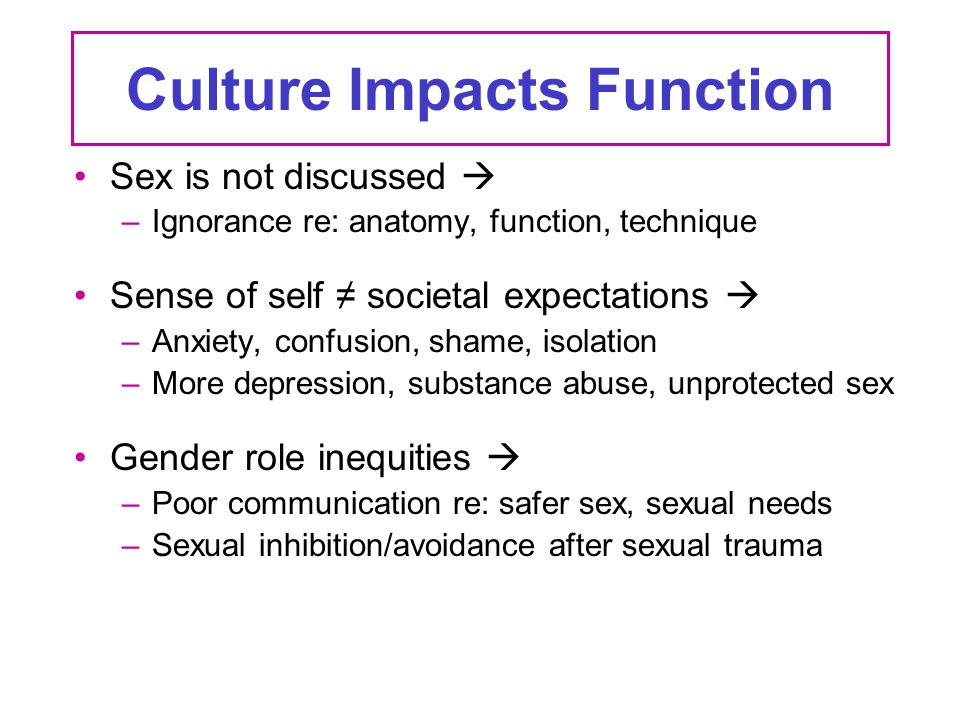Culture Impacts Function Sex is not discussed  –Ignorance re: anatomy, function, technique Sense of self ≠ societal expectations  –Anxiety, confusio