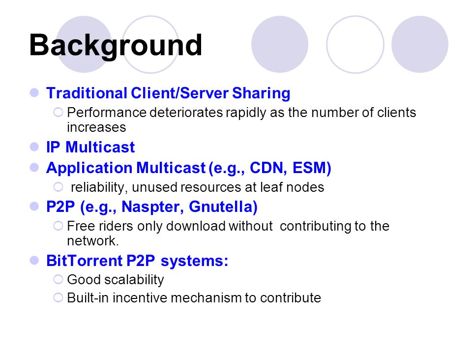 Background Traditional Client/Server Sharing  Performance deteriorates rapidly as the number of clients increases IP Multicast Application Multicast (e.g., CDN, ESM)  reliability, unused resources at leaf nodes P2P (e.g., Naspter, Gnutella)  Free riders only download without contributing to the network.