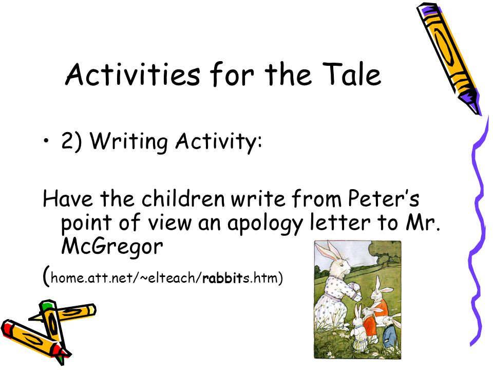 Activities for the Tale 2) Writing Activity: Have the children write from Peter's point of view an apology letter to Mr. McGregor ( home.att.net/~elte