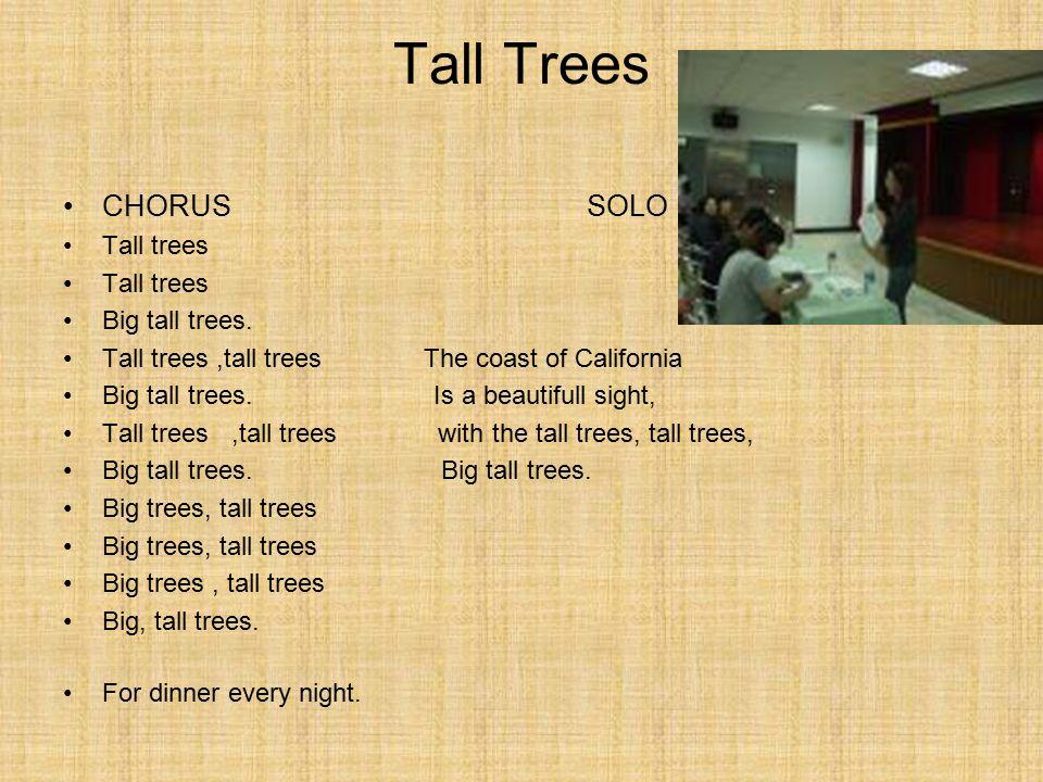 Tall Trees CHORUS SOLO Tall trees Big tall trees.
