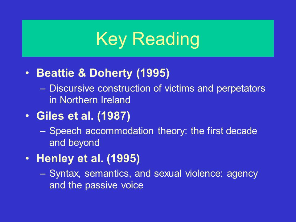 Key Reading Beattie & Doherty (1995) –Discursive construction of victims and perpetators in Northern Ireland Giles et al.