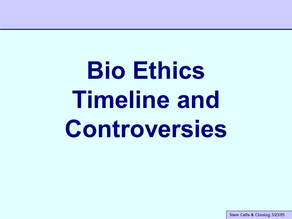 Stem Cells & Cloning 3/23/05 What is Bio-Ethics.
