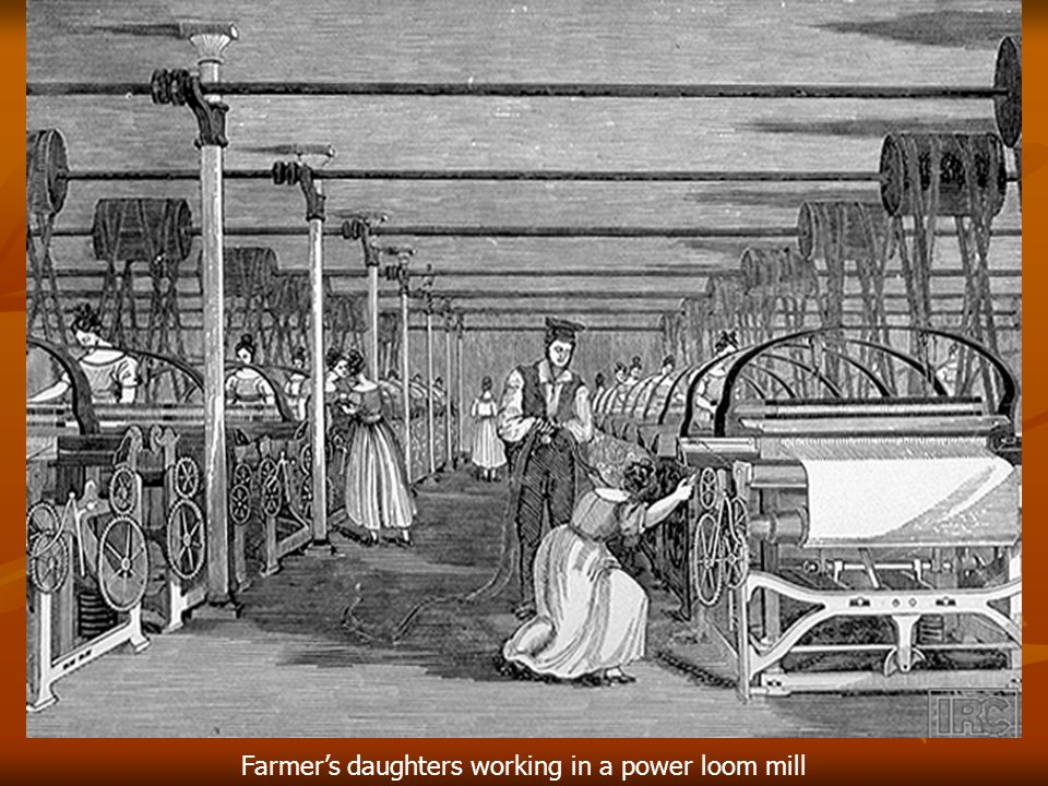 Farmer's daughters working in a power loom mill