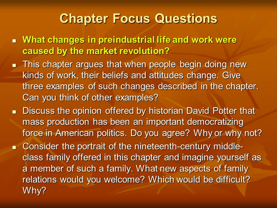Chapter Focus Questions What changes in preindustrial life and work were caused by the market revolution.