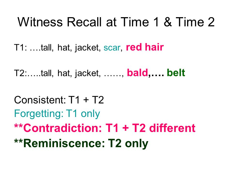 Witness Recall at Time 1 & Time 2 T1: ….tall, hat, jacket, scar, red hair T2:…..tall, hat, jacket, ……, bald,….