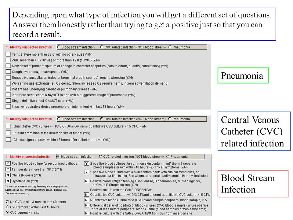 Depending upon what type of infection you will get a different set of questions.