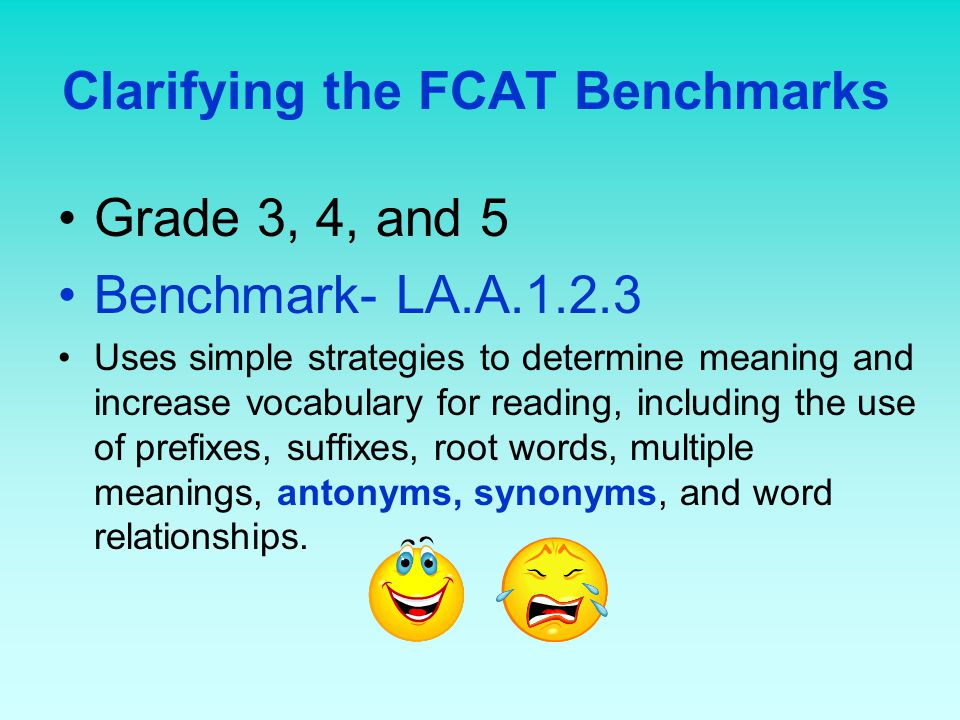 Clarifying the FCAT Benchmarks Grade 3, 4, and 5 Benchmark- LA.A.1.2.3 Uses simple strategies to determine meaning and increase vocabulary for reading, including the use of prefixes, suffixes, root words, multiple meanings, antonyms, synonyms, and word relationships.