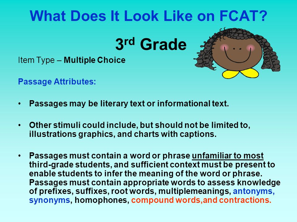 What Does It Look Like on FCAT? 3 rd Grade Item Type – Multiple Choice Passage Attributes: Passages may be literary text or informational text. Other