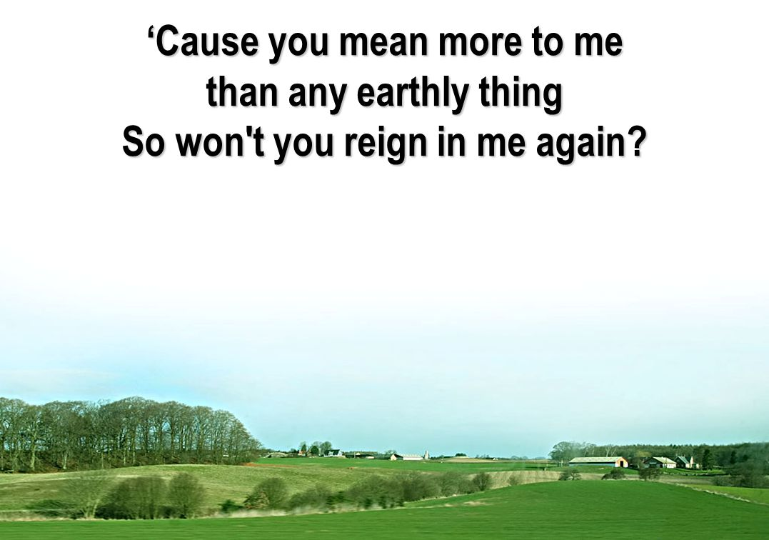 'Cause you mean more to me than any earthly thing So won't you reign in me again?