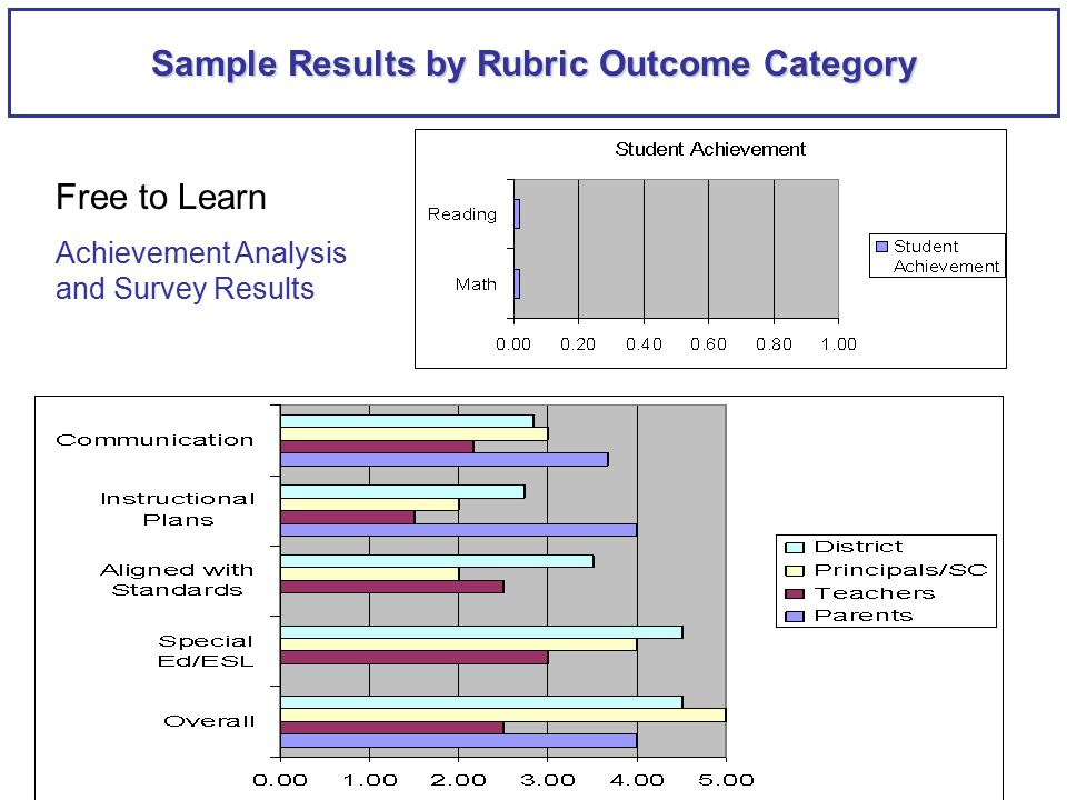 Sample Results by Rubric Outcome Category Free to Learn Achievement Analysis and Survey Results