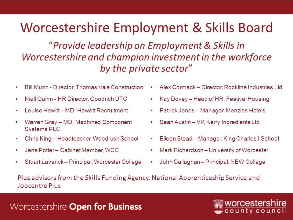 Worcestershire Employment & Skills Board Provide leadership on Employment & Skills in Worcestershire and champion investment in the workforce by the private sector Plus advisors from the Skills Funding Agency, National Apprenticeship Service and Jobcentre Plus Bill Munn - Director, Thomas Vale ConstructionAlex Cormack – Director, Rockline Industries Ltd Niall Quinn - HR Director, Goodrich UTCKay Dovey – Head of HR, Festival Housing Louise Hewitt – MD, Hewett RecruitmentPatrick Jones - Manager, Menzies Hotels Warren Gray – MD, Machined Component Systems PLC Sean Austin – VP, Kerry Ingredients Ltd Chris King – Headteacher, Woodrush SchoolEileen Stead – Manager, King Charles I School Jane Potter – Cabinet Member, WCCMark Richardson – University of Worcester Stuart Laverick – Principal, Worcester CollegeJohn Callaghan – Principal, NEW College
