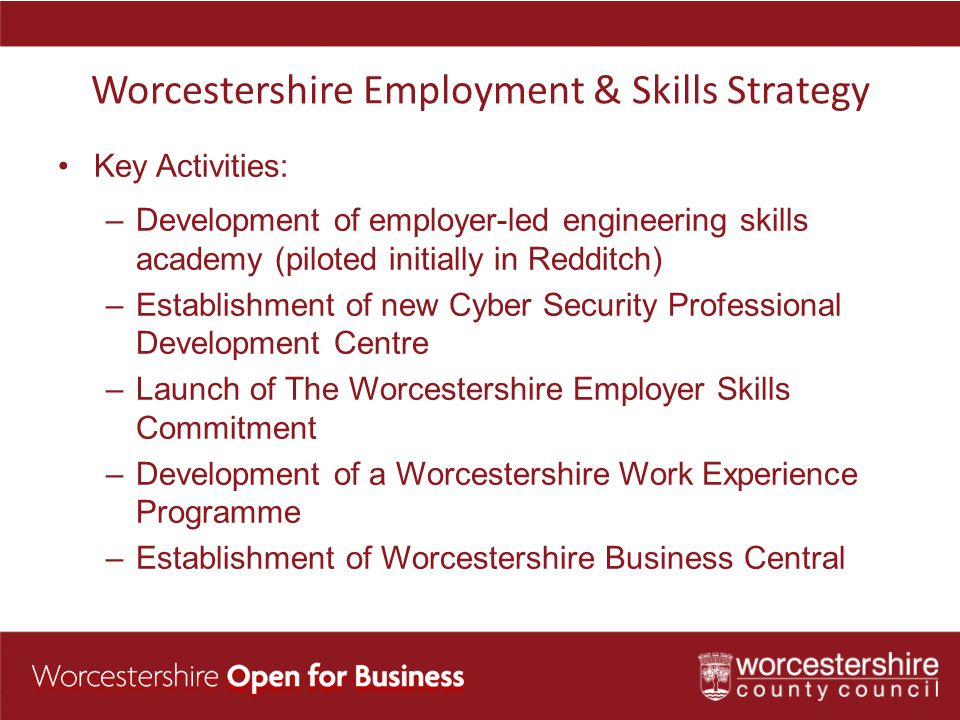 Worcestershire Employment & Skills Strategy Key Activities: –Development of employer-led engineering skills academy (piloted initially in Redditch) –Establishment of new Cyber Security Professional Development Centre –Launch of The Worcestershire Employer Skills Commitment –Development of a Worcestershire Work Experience Programme –Establishment of Worcestershire Business Central
