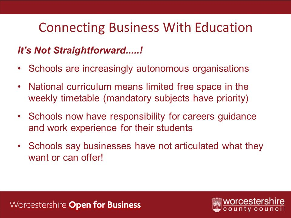 Connecting Business With Education It's Not Straightforward......