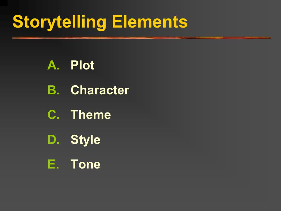 Storytelling Elements Examples: Mr.