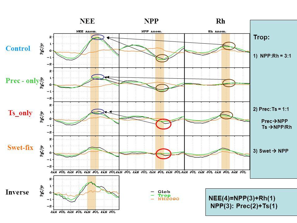 Control Prec - only Swet-fix Ts_only Inverse NEENPPRh Trop: 1) NPP:Rh = 3:1 2) Prec:Ts = 1:1 Prec  NPP Ts  NPP/Rh 3) Swet  NPP NEE(4)=NPP(3)+Rh(1) NPP(3): Prec(2)+Ts(1)