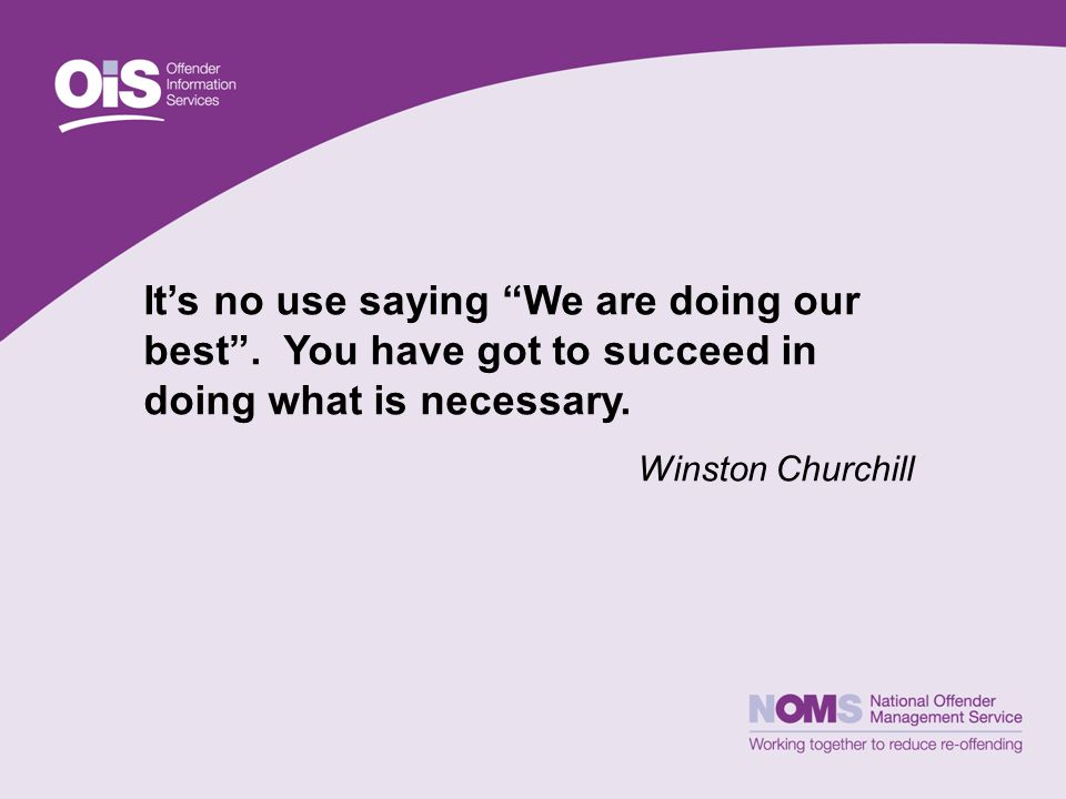 It's no use saying We are doing our best . You have got to succeed in doing what is necessary.