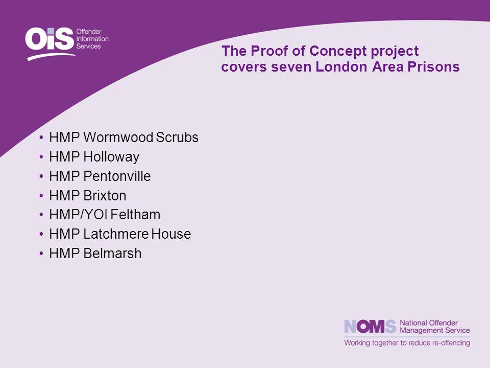 The Proof of Concept project covers seven London Area Prisons HMP Wormwood Scrubs HMP Holloway HMP Pentonville HMP Brixton HMP/YOI Feltham HMP Latchmere House HMP Belmarsh