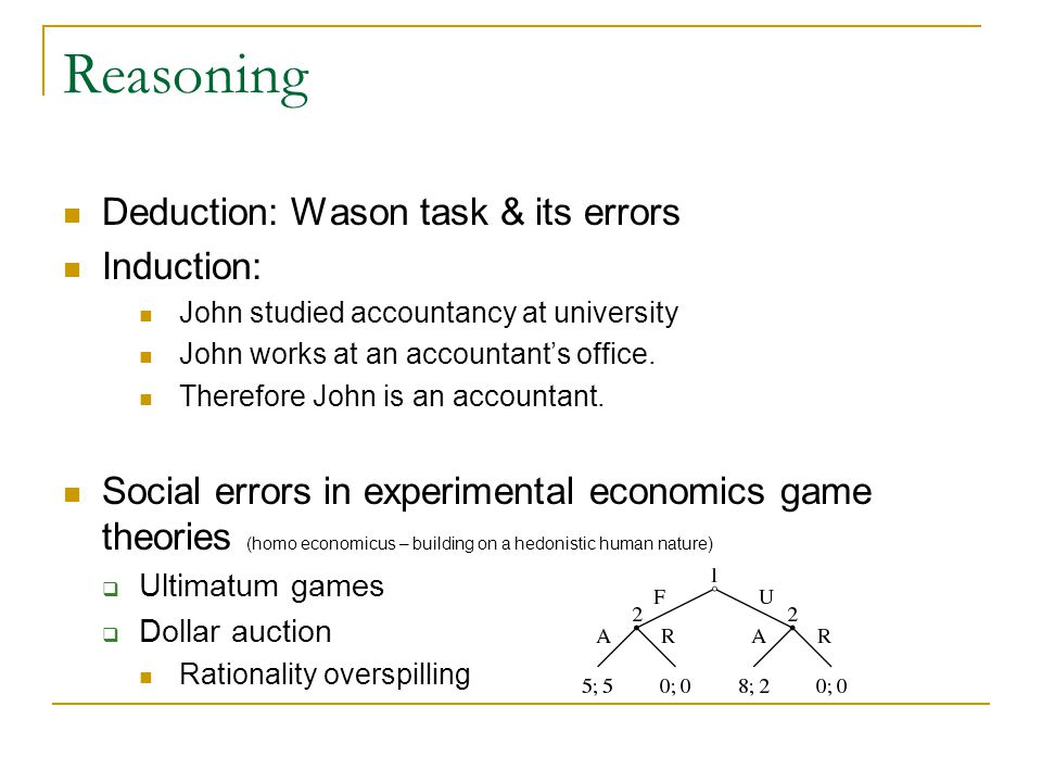 Reasoning Deduction: Wason task & its errors Induction: John studied accountancy at university John works at an accountant's office.